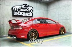 1/18 Tuning Honda Civic FD2 RR Mugen Carbon Bonnet Red With Alu Rims