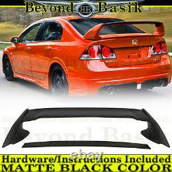 2006 2007 2008 2009 2010 2011 Honda Civic 4DR MATTE BLACK MUGEN Style Spoiler