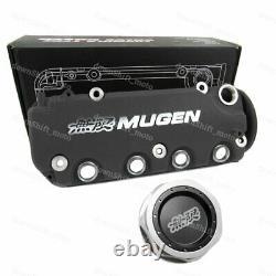 Black MUGEN Racing Rocker Engine Valve Cover +Oil Cap For Honda Civic VTEC SOHC