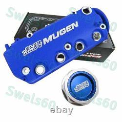 Blue MUGEN Racing Rocker Engine Valve Cover with Oil Cap For Honda Civic VTEC SOHC
