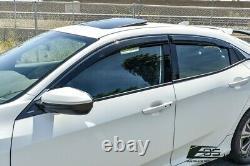 CLIP-On REAL MUGEN Style Side Vent Window Visors For 16-Up Honda Civic Hatchback