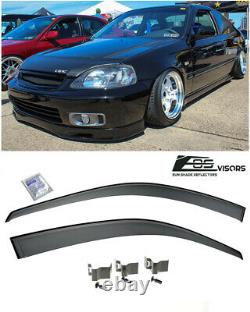 EOS Visors For 96-00 Civic 2/3Dr CLIP-ON Style Side Window Rain Guard Deflectors