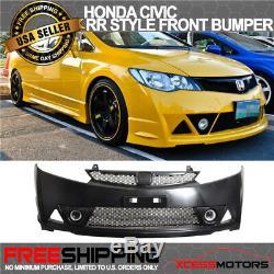 Fit 06-11 Honda Civic Mugen RR Front Bumper + Front Bumper Lip ABS + LED DRL 2PC