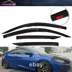 Fit 16-19 Honda Civic Coupe Mugen Style Window Visor Wind Deflector with Red Si