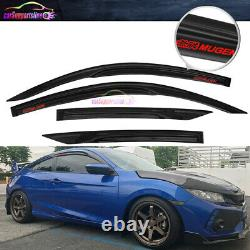 Fit 16-19 Honda Civic Coupe Window Visor Mugen Style Vent Shade with Red Mugen