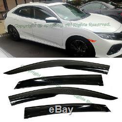 Fit 16-up Honda Civic Hatchback Mugen Style JDM Smoke Window Visors Rain Guard