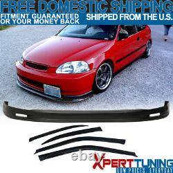 Fit 96-98 Honda Civic Polypropylene Front Bumper Lip Spoiler + Sun Window Visor
