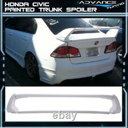 Fits 06-11 8th Civic Sedan Mugen Trunk Spoiler OEM Painted #NH578 Taffeta White
