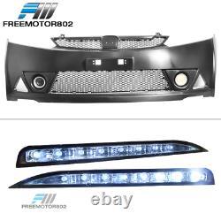 Fits 06-11 Civic 4 Door Mugen RR Front Bumper & LED Daytime Running Fog Lamp DRL