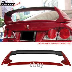 Fits 06-11 Civic 4Dr Mugen Carbon CF Top Trunk Spoiler Painted Rallye Red #R513