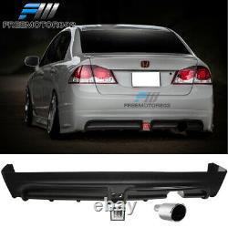 Fits 06-11 Civic Mugen Rear Bumper Diffuser + Clear Brake Light + Muffler Tip