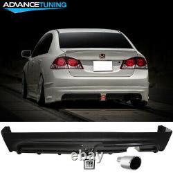 Fits 06-11 Civic Mugen Rear Bumper Lip Clear LED 3RD Brake Light +Muffler Tip
