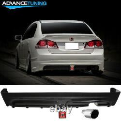 Fits 06-11 Civic Mugen Rear Bumper Lip Diffuser LED 3RD Brake Light +Muffler Tip