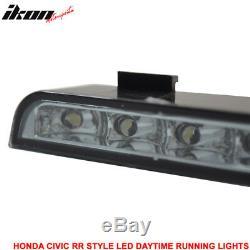 Fits 06-11 Civic Sedan Mugen RR Front Bumper & LED Daytime Running Fog Lamp DRL
