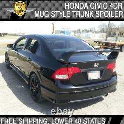 Fits 06-11 Honda Civic 4Dr Rear Trunk Spoiler Wing Mugen Style ABS Matte Black