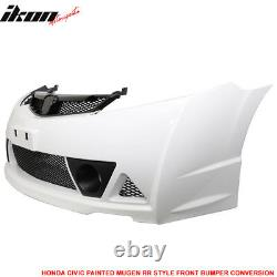 Fits 06-11 Honda Civic Mugen RR Style Front Bumper Cover Painted Taffeta White