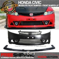 Fits 06-11 Honda Civic Mugen RR Style Front Bumper Lip + Front Bumper Unpainted