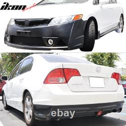 Fits 06-11 Honda Civic Mugen RR Style Front Full Bumper + Rear Lip With LED PP