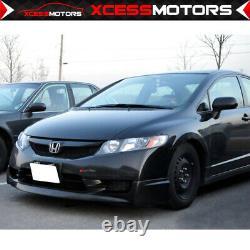 Fits 09-11 Honda Civic 4Dr Mugen Unpainted Black Front Bumper Lip Spoiler PU