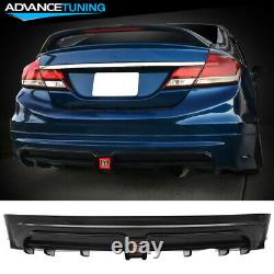 Fits 13-15 Honda Civic 4Dr Mugen RR Style Rear Bumper Lip with Red 3rd Brake Light
