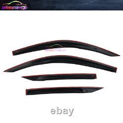 Fits 16-20 Honda Civic Coupe Mugen Style Window Visor Deflector with White Mugen