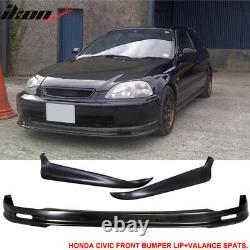 Fits 96-98 Honda Civic Mugen Style Front Bumper Lip + 2PC Rear Bumper Lip