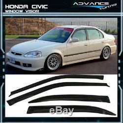 Fits 99-00 Civic 4Dr Sedan Mugen Front Bumper Lip + Grille + Sun Window Visor