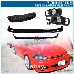 Fits 99-00 Civic EK Mugen PP Front + Rear Bumper Lip + Grille + Clear Fog Lights