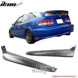 Fits 99-00 EK Civic Mugen PP Front Bumper Lip +2PC Rear Bumper Lip Valance Spats