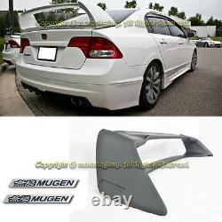 For 06-11 Civic 4DR Rear Spoiler Trunk Spoiler Wing Mugen RR + 2 x Black Emblem