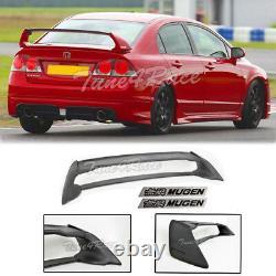 For 06-11 Civic Sedan Mugen RR Rear Spoiler FD2 FA2 With Black Emblems ABS Plastic