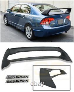 For 06-11 Civic Sedan Mugen RR Rear Trunk Lid Wing Spoiler With Black Emblems Pair