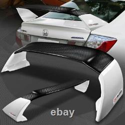 For 12-15 Honda Civic Sedan MUGEN Carbon Fiber Factory White Rear Spoiler Wing