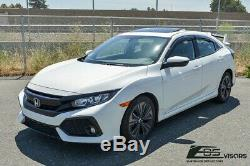 For 16-Up Honda Civic Hatchback CLIP-On MUGEN Style Side Window Visors Deflector