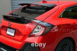For 16-Up Honda Civic Hatchback MUGEN Style Rear Spoiler With Wing Riser Bracket