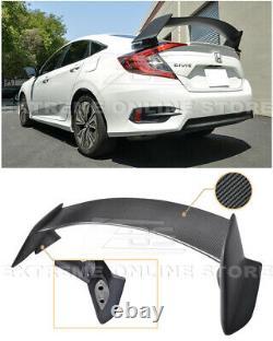 For 16-Up Honda Civic Sedan Type-R Style CARBON FIBER Rear Trunk Lip Spoiler