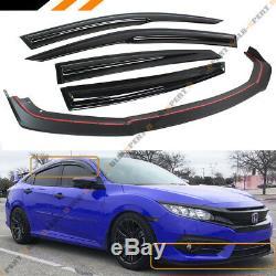 For 2016-18 Honda CIVIC 4dr Front Bumper Lip Splitter + Window Visor Rain Guard