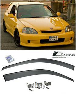 For 96-00 Civic Hatchback 3Dr CLIP-ON JDM Style Rain Guard Shield Window Visors