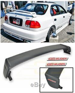 For 96-00 Honda Civic Sedan MUGEN Style Rear Trunk Wing Spoiler RED Emblem Pair