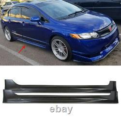 For Honda Civic MUGEN Si Sedan 4DR 2006-2011 Black Side Skirt Body Kit