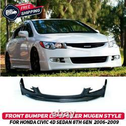 Front Bumper Lip Spoiler Splitter For Honda Civic 4D Sedan 06-09 Mugen Style New