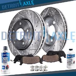 Front Drilled Brake Rotors + Brake Pads for Honda Civic Si Acura CSX RSX Type-S