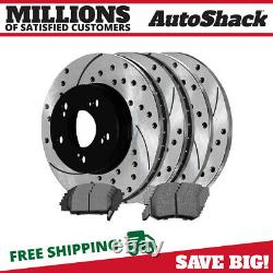 Front Rear Drilled Slotted Rotors Ceramic Pads for 2007-2010 CSX 2006-2011 Civic