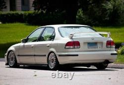 MUGEN Style Rear Trunk Wing Spoiler & Red Emblem Pair For 96-00 Civic Sedan