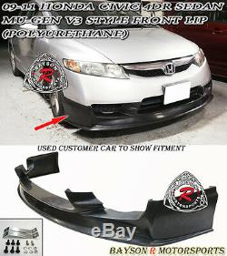 Mu-gen V3 Style Front Lip (Urethane) Fits 09-11 Civic 4dr Sedan