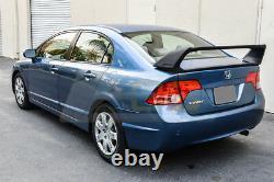 Mugen RR Style Rear Trunk Wing Spoiler & Red Emblems Pair For 06-11 Civic Sedan