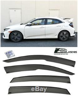 Mugen Style Smoke Tinted Side Vent Window Visors For 16-Up Honda Civic Hatchback