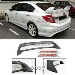 Rear Trunk Spoiler For 06-11 Honda Civic Sedan FD2 FA2 Mugen Red emblem RR ABS