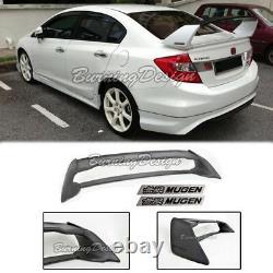 Rear Trunk Spoiler For 06-11 Honda Civic Sedan FD2 FA2 Mugen black emblem RR ABS