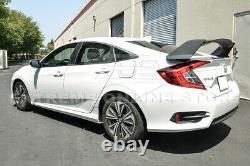 Type-R Style PRIMER BLACK Rear Trunk Wing Spoiler For 16-21 Honda Civic Sedan